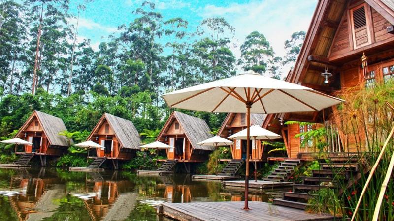 Lesehan di Bamboo Gazebo Saung Purbasari - Dusun Bambu Lembang